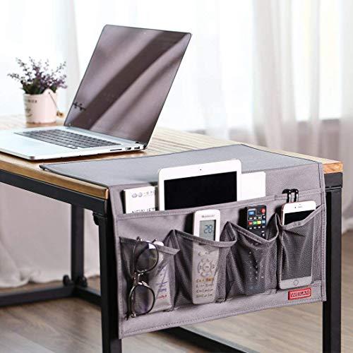 WEILAN Bedside Caddy Organizer, 6 Taschen Oxford Nightstand Storage, Tisch Schrank Magazinhalter rutschfest (Grau)