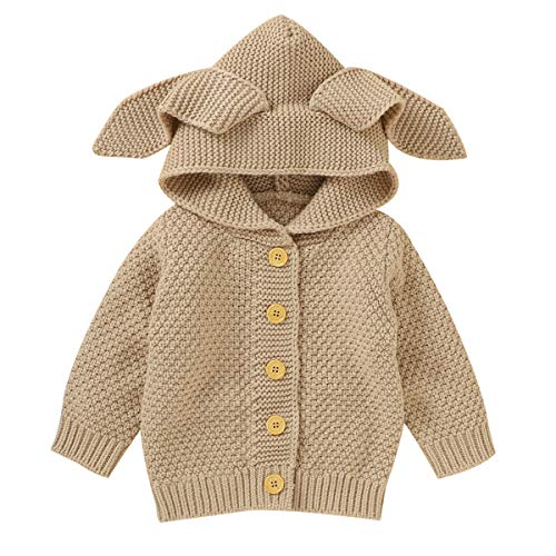 Binxory Cárdigan de bebé chaqueta abrigos suéter recién nacido Crochet prendas de punto capa de color sólido con capucha botón para Unisex suéter infantil Outwear