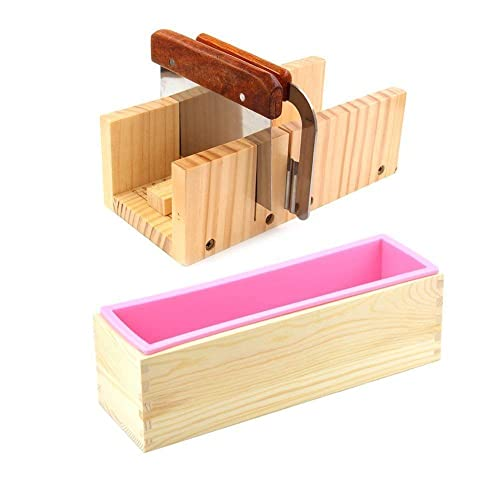 Random Color DOYOLLA Flexible Rectangular Soap Silicone Mold Wood Box w//Wooden Covers for Homemade 42oz Soap Produce Set of 2