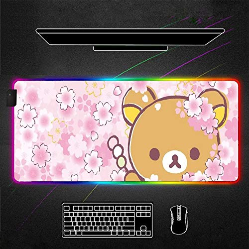 Mouse Pads Cute Bear and Pink Cherry Blossoms RGB Mouse Pad Cute Gaming Accessories Play Mat Backlight pad Pink Led Gamer Girl 35.43x15.74x0.15 inch