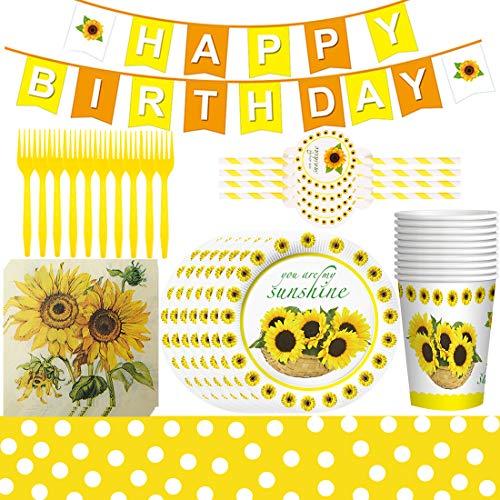 Girasol - 62 piezas Juego de vajilla para fiestas temáticas de girasol para mesa, platos, servilletas, cumpleaños y cumpleaños infantiles
