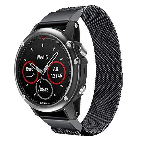 Pulseira de relógio de aço inoxidável para Garmin Fenix 5X compatível com Garmin Fênix, 26 mm de largura, fácil de encaixar, pulseira de substituição para Garmin Fenix 5X/Fenix 5X Plus