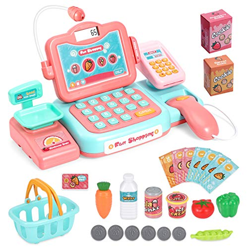 Chuntianli Durable Cash Register Toy-Pretend Play Educational Toy Cash Register with Scanner, Sound, Music, Microphone, Calculator, Play Money & Grocery Toy for Kids, Toddlers & Preschoolers
