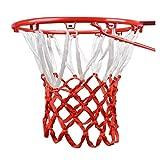 Fuxwlgs Aro de Baloncesto Duradera tamaño estándar del Hilo de Nylon Deportes del aro de Baloncesto Red del Acoplamiento del Tablero Trasero del Borde de la Bola PUM (Color : White and Red)