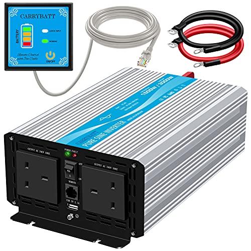 CARRYBATT 1500W Pure Sine Wave Power Inverter DC 24V to AC 230V 240V Converter With Remote Control,...