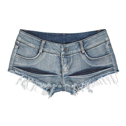 Cicongzai Sexy Denim Booty Shorts Borla Bikini Lindo Sexy Jeans Shorts Low Fashion Design Jeans Rise Beach Micro Mini Corto Erótico Culb Wear (Size : S)