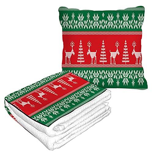 Manta de viaje con patrón nórdico en bolsa suave, funda de almohadas, estilo vintage, árbol de Navidad, ciervos, geométrico, tejido cálido, cojín para casa, coche, oficina