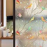 LMKJ Película de Vidrio Esmerilado de privacidad de Aves, Pegatinas de Ventana electrostáticas de Colores para el hogar, baño, Oficina, película de Vidrio A37 45x200cm