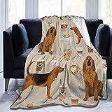Biubiu-Shop Nueva Tela Bloodhound Perros y cafés Sherpa Fleece Blanket Throw for Home Office Sofá de Viaje Sofá cálido y Acogedor