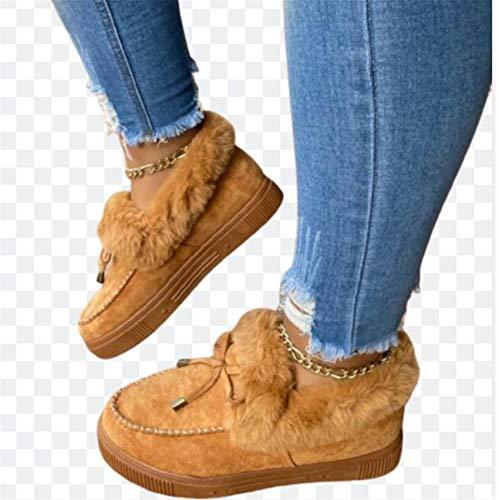 ZLYY Zapatos de Mujer Caliente Zapatos de algodón de Invierno Zapatos de Nieve cálida de Nieve Damas Casuales Planos Botas Cortas sólido Color Peludo Hembras,Marrón,41