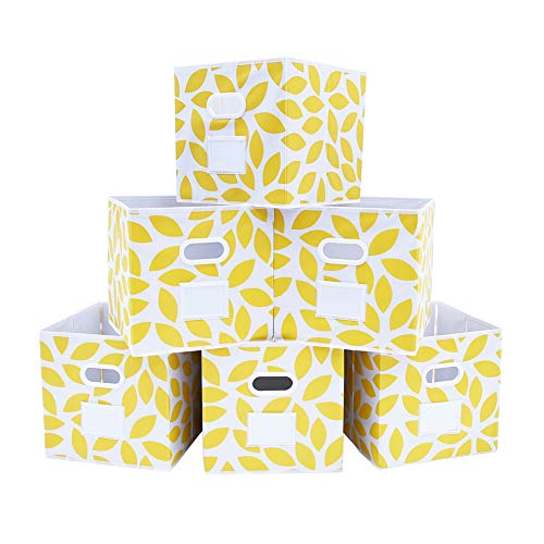 Fabric Storage Bins Cubes Baskets Containers with Dual Plastic Handles for Home Closet Bedroom Drawers Organizers Flodable Set of 6 Yellow