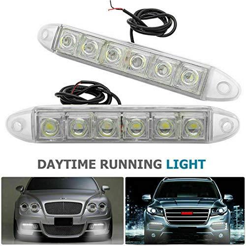 Set di 2 luci di marcia diurna a 6 LED ad alta potenza Fendinebbia universale Fendinebbia per auto DRL Luce di striscia per auto bianca Fendinebbia per guida diurna