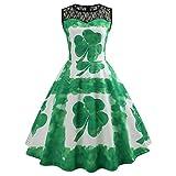 Cuteelf St. Patricks Day Kostüm Damen Frisch Grüner und Weißer Kleeblatt Druck Kleid Frauen...