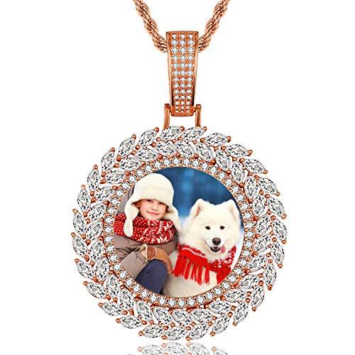 Collar de medalla de foto personalizada Collar de circón con incrustaciones de cobre Collar de Hip Hop para hombres(Oro de Rose plateado 24)