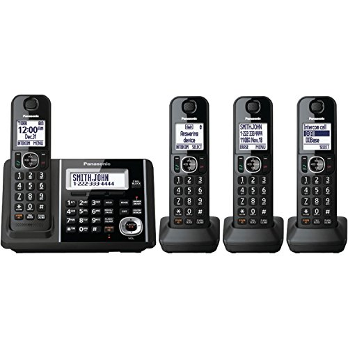 Panasonic KX-TGF344B DECT 6.0 Technology Expandable Up To 6 Handsets 3-Way Conferencing Night Mode Automatic Noise Reduction 4-Handset Landline Telephone