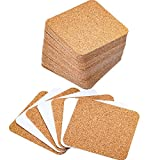 Hotop Self-adhesive Cork Coasters Squares Cork Mats Cork Backing Sheets for Coasters and DIY Crafts Supplies (60, Square)