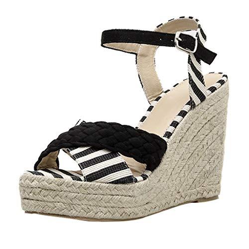 Xmiral Sandals Wedge Heels Women Buckle Strap Striped Cross Platform Peep Toe Shoes Hemp Weave Flip Flops(4.5 UK,Black)