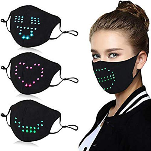 Voice Activated LED Face Mask - Imitates Lips Speaking - Animation Commands -Luminous Rave Talking Mask Cosplay - Pack with 1 Filter Black