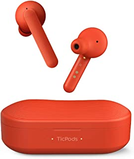 Wireless Earbuds TicPods Free True Bluetooth Earbuds with Charging case, Water Resistant, Clear Crisp Audio in Both Ears, Noise isolating (Red)
