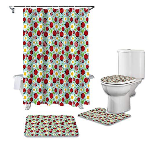 YPDWYJL Kleiner Gänseblümchen Marienkäfer Duschvorhang 4-teilige rutschfeste Teppich WC-Abdeckung & Bad rutschfeste Matte Bad Vorhang Set