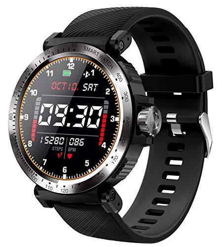 Herren Smartwatch IOS Android Herzfrequenzmessung am Handgelenk Outdoor Sport Fitness Armbanduhr Touchscreen Bluetooth Schrittzähler Nachrichten