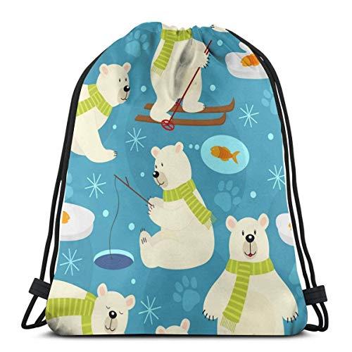 ARRISLIFE Sporttasche,Reisepaket Casual Daypack,Schulschultertaschen,Unisex Kordelzug Taschen,Polar Bear Backpack Bag