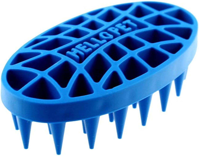 Qinniao Pet Brush Dog Hair Comb Cat Brush Cat and Dog Universal, Pet Bath Artifact, Plastic Material, Oval bluee, 120  68mm Premium pet Brush (color   bluee)
