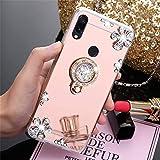 MRSTER Funda Compatible con iPhone 5S, Brillante Brillo Espejo Funda Suave Silicona TPU Case con Soporte Giratorio de 360 Grados para Apple iPhone 5 5S SE. ZS Diamond Rose Gold