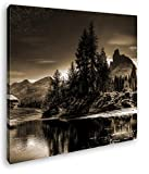 Bergsee in den Alpen Format: 70x70 Effekt: Sepia als