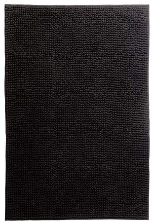 IKEA Badematte TOFTBO Flauschiger Duschvorleger Badezimmerteppich - saugstarke Mikrofaser - 120x60 cm - maschinenwaschbar - schwarz