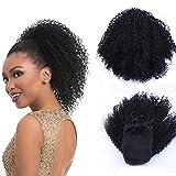 12 pulgadas sintético afro corto rizado moño de pelo rizado para las mujeres con cordón...