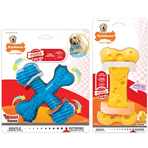 Nylabone Power Chew Tough Chew Toys for Dogs Bundle Adult Dog Beef & Cheese Large/Giant (2 Count)