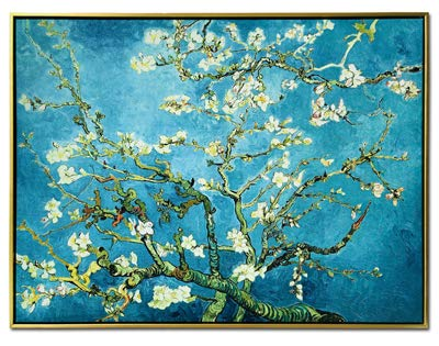 Wieco Art Framed Art Giclee Canvas Prints of Almond Blossom by Vincent Van Gogh