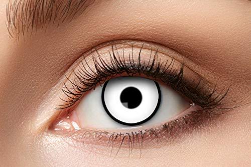 Eyecatcher - Farbige Kontaktlinsen, Farblinsen, Jahreslinsen, 2 Stück, Halloween, Karneval, Fasching, weiß mit Rand, Vampir, Zombie, Manson