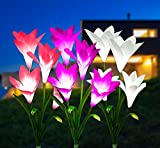 Luz solar Exterior Jardin, 3 Luces Solares Flores de Lirio Luces Exterior Energía Solar Led Solares Exteriores hadas Guirnaldas Luces Exterior para Jardín, Patio, Césped Decoración