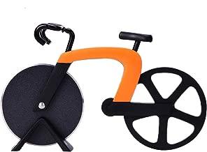 G.a HOMEFAVOR Tagliapizza a Forma di Bicicletta in Acciaio Inox, con Lama Anteriore Affilata Antiaderente
