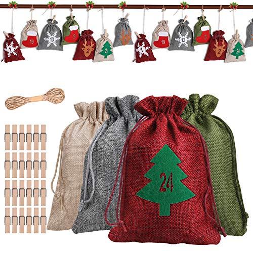 Anpro DIY Adventskalender zum Befüllen Stoffsäckchen - Jutesacken Groß Weihnachten Geschenksäckchen mit 24 Adventszahlen Filz Aufkleber, 2020 Weihnachtskalender Bastelset Füllung für Männer Kinder