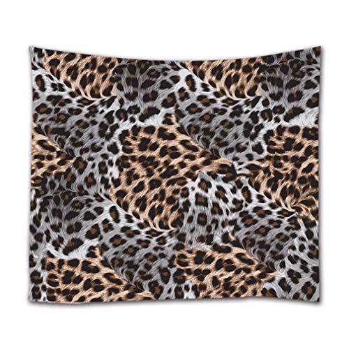 A.Monamour Wandteppiche Braune Und Weiße Leopardenmuster Textur Abstrakt Hintergrunddruck Stoff Wandbehang Gobelin Vorhänge Tischdecke Bettdecke Strandtuch 180X230Cm