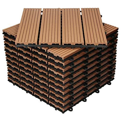 ECD Germany WPC Terrassenfliesen 30x30 cm 33er Spar Set für 3m² Hellbraun in Holzoptik für Garten Balkon Bodenbelag mit Drainage und Klicksystem Terrassendielen Balkonfliesen Klickfliesen Holzfliesen