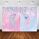 Avezano Little Feet Gender Reveal Backdrop 7x5ft Boy or Girl Gender Reveal Party Photography Background Pink or Blue Baby Footprint Gender Reveal Party Decoration Banner