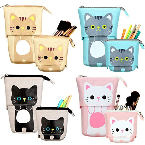 4 Pieces Transformer Stand Store Pencil Holder Canvas PU Cartoon Cute Cat Telescopic Pencil Organizer Makeup Bag Cosmetics Pouch Stationery Pen Case Box with Zipper for Students Boys and Girls