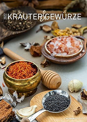 Kräuter & Gewürze 2022 - Bildkalender A3 (29,7x42 cm) - Herbs & Spices - mit Feiertagen (DE/AT/CH) und Platz für Notizen - Wandplaner - Küchenkalender