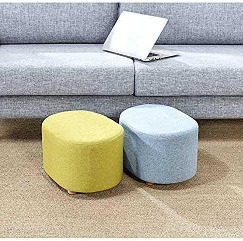 DEED Schuhbank  ern, Massivholz Hocker-Hocker Oval Short Kindersitz Wohnzimmer Tuch Kunst Pedal Fu nk,Blau