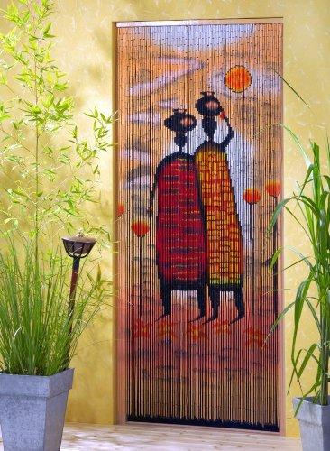Tenda da porta in bambù, a tema 'Mombasa', dimensioni approssimative: 90x 200cm