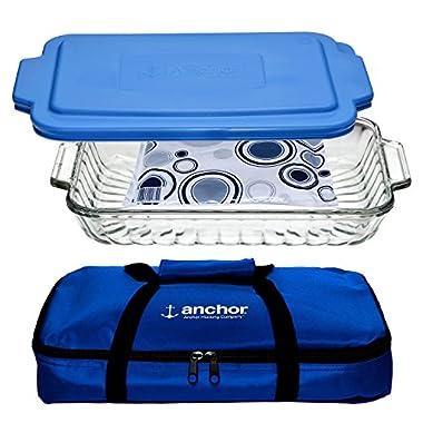 Anchor Hocking Oven Basics 3-Piece Bake-N-Take Bakeware Set w/Portable Bag