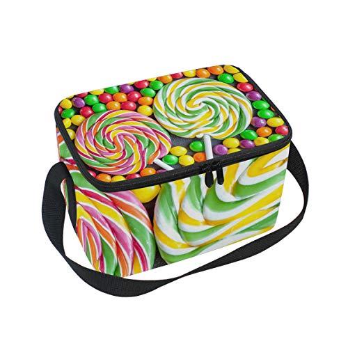 Sac à déjeuner coloré Candy Lollipop refroidisseur pour pique-nique Bandoulière Boîte à lunch