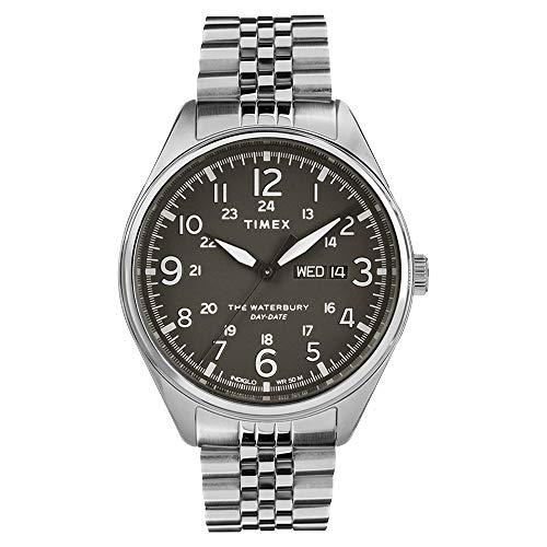Reloj Timex TW2R89300 para hombre, cuarzo, 42 mm, esfera negra, correa de acero plateado