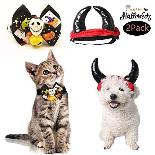 Foocho Costume Halloween pour Chat/Chien, Chapeau Diable/Noeud Papillon Halloween/Noël Déguisement...