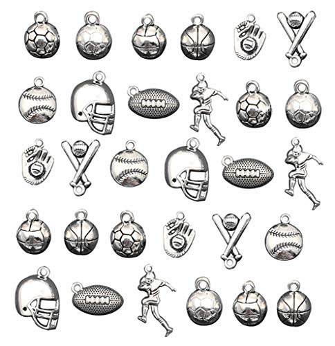 30pcs Ball Games Sports Charm,Basketball Football Volleyball Baseball Rugby Soccer Charms Pendents for DIY Bracelet Necklace Earring Jewelry Making Findings
