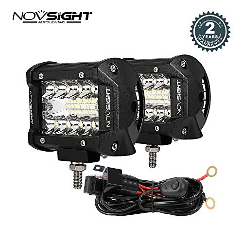 LED Light Bar 2PCS 60W 4 Inch Flood Spot Combo LED Work Light Pods Triple Row Work Driving Lamp with Wiring Harness kit - 2 Leads,2 Year Warranty